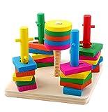 #1: Tickles Wooded Five Column Set Blocks Geometry Puzzles 29 cm