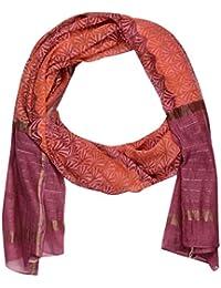 PotliArts Women Handwoven Handblock Print Chanderi Dupatta (Orange, Pink)100/240)