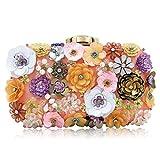 Milisente Women Clutch Bag Beaded Flower Clutch Purse Satin Evening Bag (Champagne)