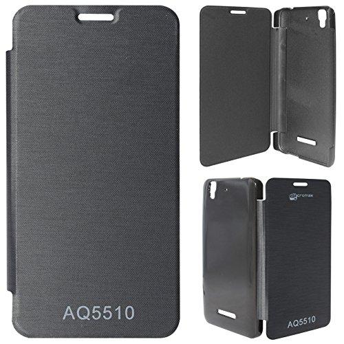 DMG Premium Flip Cover Case for Micromax Yureka Yu YUREKA AO5510 Mobile (Black)