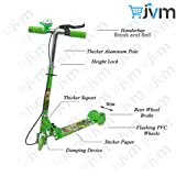 3 Wheel Scooter/Cycle With Height Adjustable & Fold Able Kids Scooter With Led Lights In Wheel (Brake & Bell) (Green)