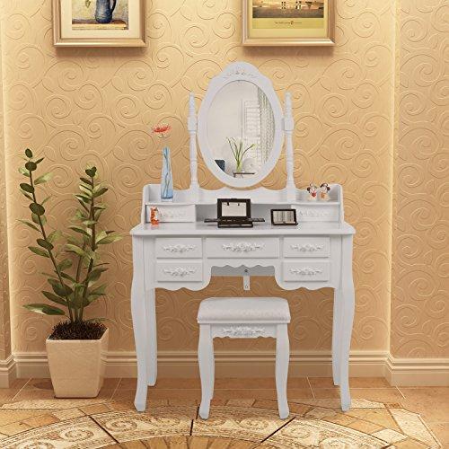 Songmics weiß 7 schubladen Schminktisch mit spiegel und hocker, inkl. 2 Stück Unterteiler, Kippsicherung, 145 x 90 x 40 cm RDT10W - 2