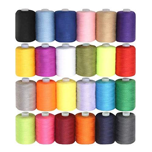Nähgarn Polyester Overlock Nähgarn Set - 24 Stück mit 914 Meter - Verschiedene Leuchtende Farben zum Nähen - Hochwertige Mehrfarbige Garnrollen - Großes Set zum Hand- und Maschinennähen