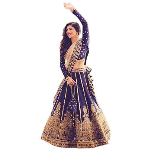 4Fashion Empire Women's Banglory Silk Anarkali Lehenga Choli (4Fe10632_Blue)