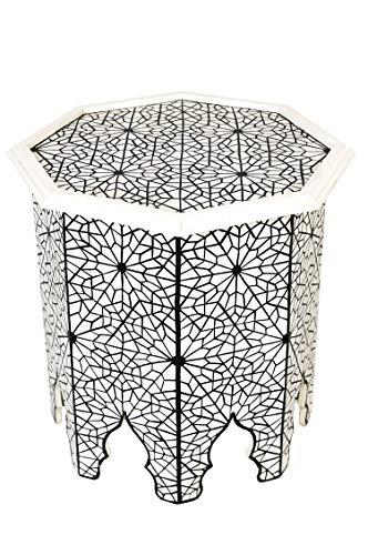 Marokkanischer Tisch Beistelltisch aus Holz Charka Schwarz ø 50cm rund | Orientalischer Runder...