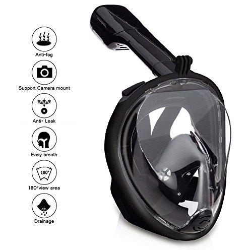 Masque de Plongée, Masque Snorkeling Plein Visage 180° Visible Snorkel Masque avec la Support pour Caméra de Sport, Anti-Fuite Anti-Buée Adapté pour Adulte et Enfant (Noir S/M)