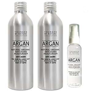 Huile d'argan pure 2x200ml (400ml) pour le traitement de la peau et des cheveux Economisez 31% + Bouteille rechargeable + LIVRAISON GRATUITE