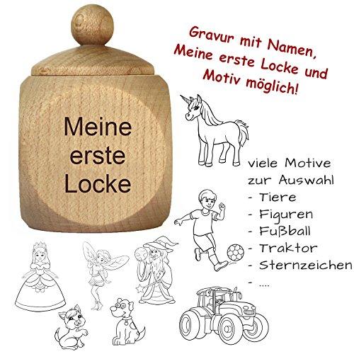 """Lockendose mit Gravur - personalisiert mit Namen - Holzdose \""""Meine erste Locke\"""" als Geschenk für Mädchen und Jungen"""