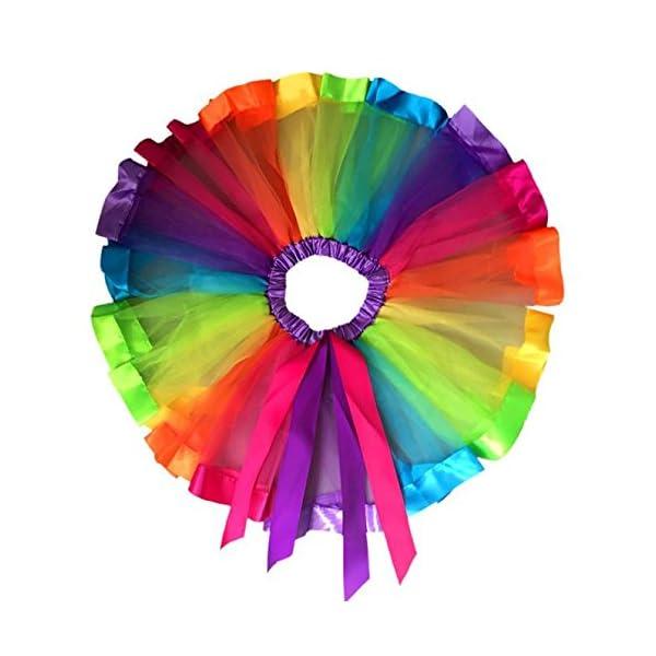 PinkLu Falda De Malla De Arco Iris De Siete Colores NiñAs NiñOs Enagua Arco Iris Pettiskirt Falda Bowknot Vestido Tutu… 3
