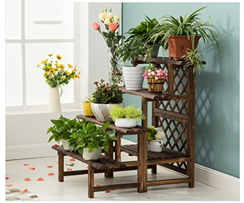 &espositore supporto per fiori in legno massello supporto per fiori multilivello balcone per interni soggiorno piano terra tipo di fiore pianta antisettica ( colore : d )