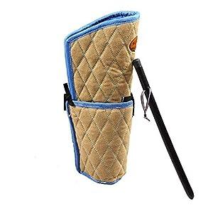 ZNN Manches Anti-morsures pour Chiens - Protection pour l'entraînement Contre l'agilité, avec Fouet pour Chien, Conception en Lin épais de Haute qualité et matériau en Cuir, Durable