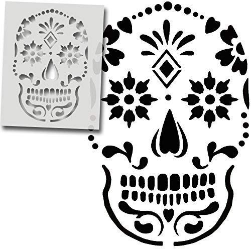 Zucker Totenkopf Schablone Design, Dekoration Kunst Handwerk Schablone, Wiederverwendbar, Farbe Bespoke Oberflächen auf Jeder Oberfläche - semi-transparent Schablone, Multi XS/S/M -