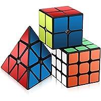 Roxenda Juego de Cubo de Velocidad, Magic Cube Set de 2 x 2 x 3 x 3 Pirámide, Cubo de puzle Suave