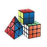 Roxenda Speed Cube Set, Zauberwürfel 2er Set 2x2x2x2x3x3 Pyramidenwürfel glatt Puzzle Cube