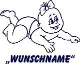 INDIGOS UG - Babystrampler / Strampler 062 mit Wunschname / Wunschtext schwarz 86/92
