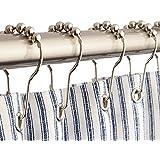 12 x modern chrome ball bead easy glide shower metal curtain hook rings