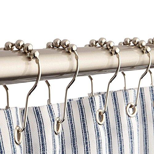 12x Moderne Chrom Kugel Bead Easy Glide Dusche Metall Vorhang Haken Ringe - Ball-bearing Hinge