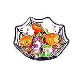 DOMIRE 1 Pc Halloween Candy Ciotola di Plastica Ragnatela Carrello Bacino Ragnatela Caramelle di Frutta Piatto di Halloween per Feste Ragnatela Candy Bowl Halloween Accessori Nero