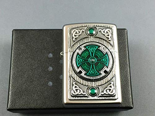 Zippo Encendedor, Cromado, Satin Finish Celtic Green