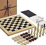 Jaques of London Jeu d'échecs Board Inc. Drafts Pieces - Un Jeu d'échecs de Dames Board - Parfait Jeu d'échecs en Bois Les Enfants de Tous âges - Vos Enfants Love ce bel Ensemble