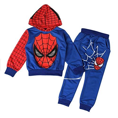 iikids Bekleidungsset 2 pcs Sweatshirt + Hose Spiderman Kostüm Kinder Kapuzenpullover Kinderanzug Jungen Babyanzug Junge Anzug Kinder Kleikind, Blau, 98/104(Etikette 110)