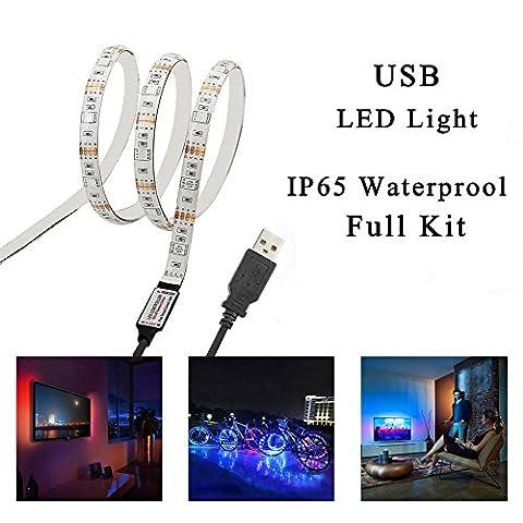Simfonio USB LED Strip Lights 1M 30LEDs IP65 Waterproof 5050 RGB TV LED Strip With Mini Controller