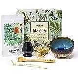 Vireo Bloom Ensemble de Cérémonie de Thé Vert Matcha 50g - 450ml (Chawan), Un Fouet (Chasen), Un Katodo, Un Support (Naoshi), Une cuillère (Chashaku) et Une cuillère en Bambou
