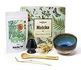 Il Tè Verde Matcha Set Regalo - 50g Vireo Tea Matcha Uji Polvere, Mescolando con una Frusta di Bambù con Supporto, 2 Cucchiai, Matcha Ceramonial Tazza di tè Chawan confezione Regalo