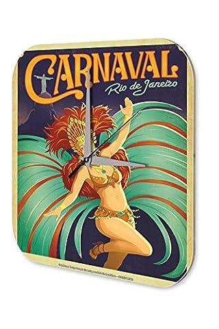 Horloge murale Tour Du Monde Carnaval de Rio de Janeiro femme en costume coiffe de plumes Imprimee