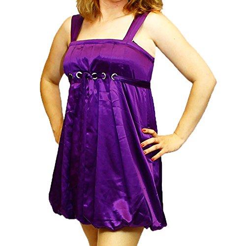 Vestito senza maniche in raso viola con diamante argento tempestato di cerchi e cintura Viola