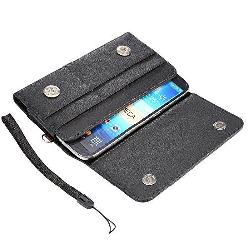 DaYiYang Case Cover Universal Litchi Texture Vertikal Flip Thwartwise PU Ledertasche / Hüfttasche mit Rückenschiene & Card Slots & 15cm Lanyard für Samsung Galaxy C9 Pro / C900 & A8 (2016) & S7 Edge & Black
