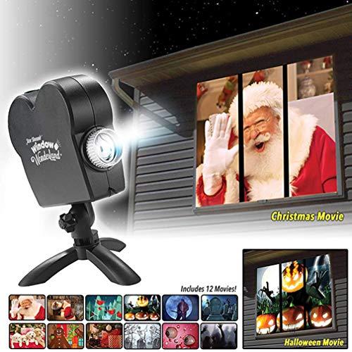 LJP Fenster Projektor Halloween-Projektion Beleuchtet 12 Filme Weihnachts Bühnen Leuchten