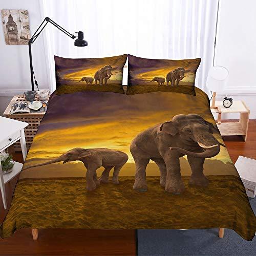 REALIN Funda Nórdica Elefante Juego De Ropa De Cama Animal Salvaje Elefante...