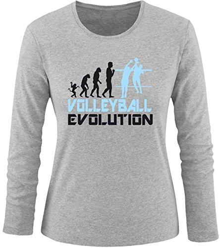 EZYshirt® Volleyball Evolution Damen Longsleeve Grau/Schwarz/Hellbl