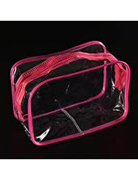 Squeevi Rose : Portable Transparent Travel Makeup Cosmetic Toiletry Zip Storage Bag Pouch