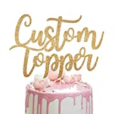 Personalised Cake Topper Custom Cake Topper.Happy Birthday Decorations. Double Sided 100 Gram Glitter Card Any Text Customized. Birthday or Wedding Party Multicolour Glitter Cake Decoration.