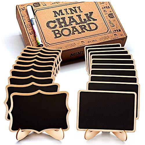 wischbare Mini Tafel mit Löschbar Kreidemarker - Klein Holz Kreidetafel mit Ständer- als Tischkarten Platzkarte Namensschild Preisschilder für Hochzeit, Geburtstag usw. Verwenden ()