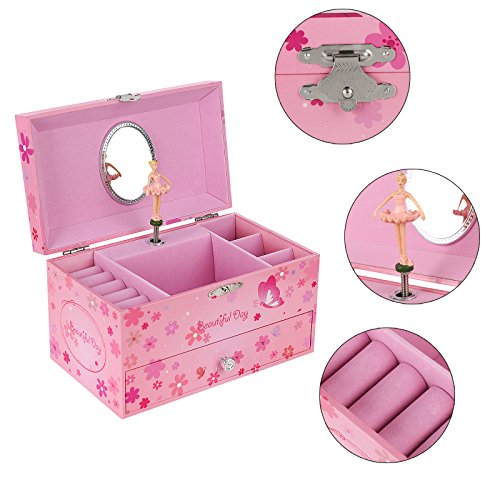 SONGMICS Musikspieldose, Spieluhr, Schmuckkästchen mit Schubladen und Spiegel, Aufbewahrung, Geschenk für Mädchen, rosa, JMC003PK - 5