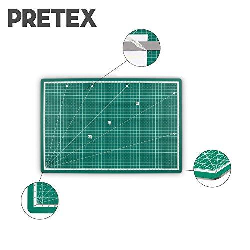 PRETEX tabla de cortar Premium  tabla de corte  45 x 30 cm (A3) en verde con superficie autoreparativa  autocurativa | con 2 años de garantía de satisfacción | Cutting Mat