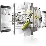 murando - Bilder Blumen Lilien 200x100 cm Vlies Leinwandbild 5 TLG Kunstdruck modern Wandbilder XXL Wanddekoration Design Wand Bild - Abstrakt Silber grau weiß grün a-C-0077-b-m