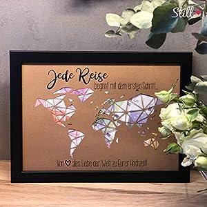 Geldgeschenk zur Hochzeit *Triangel-Weltkarte* inkl. Rahmen