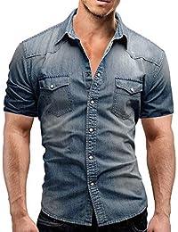 Luckycat Herren Casual Slim Fit Knopf Shirt mit Tasche Kurzarm Bluse Mode  2018 1b03552e49