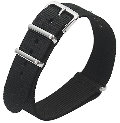 KAIKSO-IN Herren Nylon Sport Wrist Armbandhalterung Strap Infanterie Militär Armee 5 Farbe 18 - 22mm (20mm, Schwarz) (Fünf Arm)