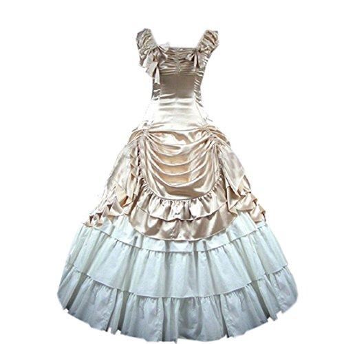 Nœud femme Motif Gothic Lolita sol Longueur de la robe Marron - Camel