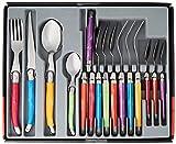 Laguiole Production - Set di Posate Multicolore in 24 Pezzi - Set di Posate in Acciaio Inox e ABS...