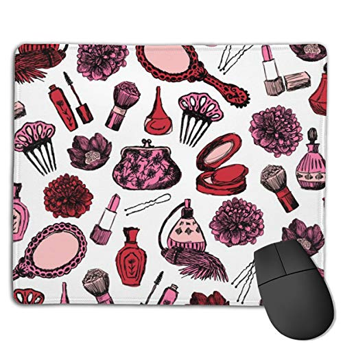 Vintage Makeup Beauty Brush Florals Nails Lipstick Cute Girls Fabrics Computers Thick Keyboard Non-Slip Rubber Base Mouse pad Mat 7 X 8.6 inch