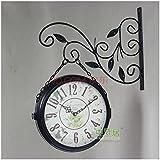 Jardín de hierro forjado Bell Reloj de pared doble cara/vidrio/negro