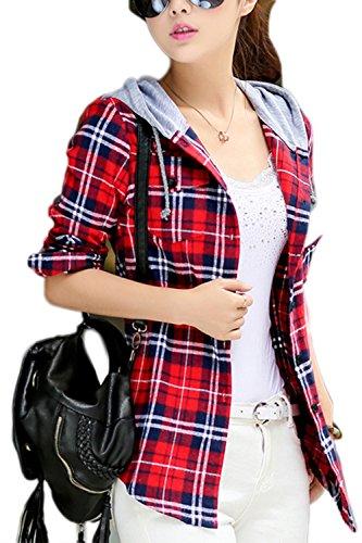 Damen Bluse Kariertes Hemd Langarm Blusenshirt Kapuzen T-Shirt Plaid Shirt Freizeithemd Red M