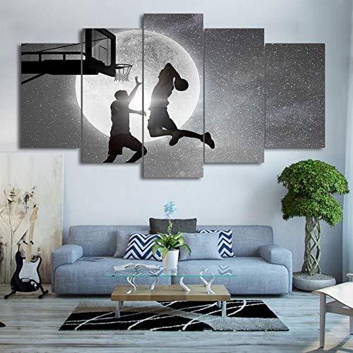 YZTLY 100x55cm HD Gedruckt 5 Stücke Leinwand Kunst Malerei Schießen Einen Korb Poster Sternenhimmel Wandbilder für Wohnkultur -