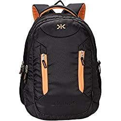 Killer Derby 38L Large Laptop Backpack with 2 Compartments Black Polyester Trendy Waterproof Travel Backpack